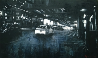 Emanuele Biagioni - Sottopasso a Brooklyn Acrylic on Canvas, Paintings