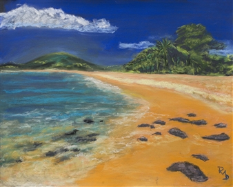 Raul Mariaca Dalence - Maui Beach Pastel on Canvas, Paintings
