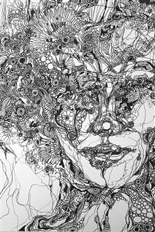 Kaoru Kushima - Face Ⅰ Pen on Paper, Drawings