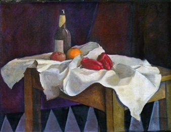 Blanca Severo - Mesa y Frutas Oil on Canvas, Paintings