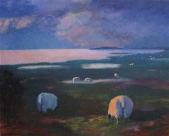 Margit Enggaard Poulsen - Marsh Sheep, Fanoe Acrylic on Canvas, Paintings