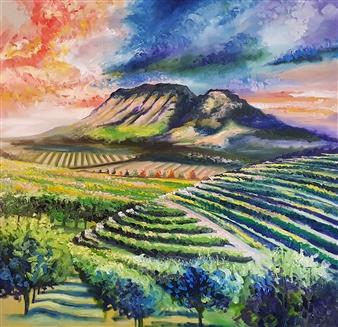 Lillian Gray - Stellenbosch Vineyards Oil on Linen, Paintings
