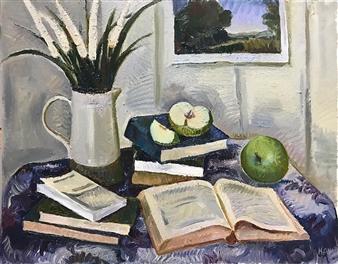 Hana Vater - Still Life with Artprint Oil on Canvas, Paintings