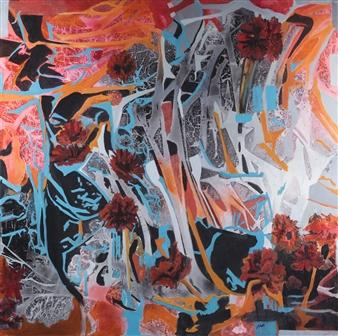 Pauline Rakis - Find the Flowers Acrylic on Canvas, Paintings
