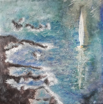 Chatarina Salomonsson - Sail in the Atolls Acrylic on Canvas, Paintings