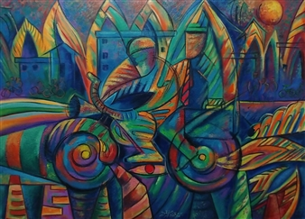 Miguel de la Cruz - Empresario en Moto Oil on Stretched Canvas Board, Paintings