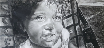 Latoya Tidd - Angel Eyes Charcoal on Paper, Drawings