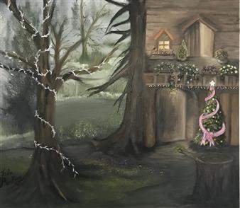 Tsila Mackay - Home for Christmas Oil on Canvas, Paintings