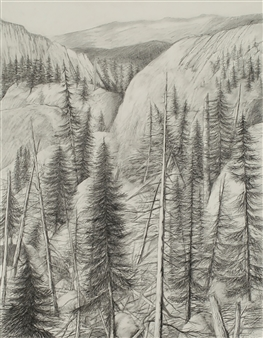 William Ingham - Blue Mountains, Oregon Pencil on Paper, Drawings