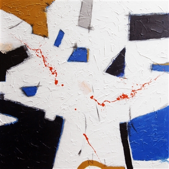 Belle Roth - Building Barcelona Day 3 Acrylic & Charcoal on Canvas, Mixed Media