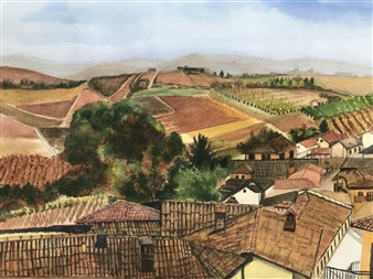 Nancy Holleran - Southern Italian Village Watercolor on Paper, Paintings