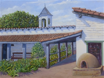 Miguel A. Chavez - Estudillo House Patio Oil on Canvas, Paintings