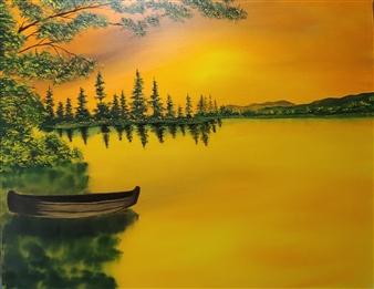 Hezekiah Baker Jr. - Sunset Lake Acrylic & Oil on Canvas, Paintings
