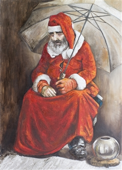 Germán Valles Fernández - The Man in Red Oil on Canvas, Paintings