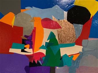 Hap Garrett - Tree by Stream Vinyl Signage on Gesso Board, Paintings