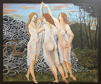 Glotz Gérard - Sandro Botticelli's Graces Dance into the 21st Centuries Acrylic on Canvas, Paintings