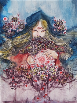 Xiao daCunha - The Black Witch Watercolor on Paper, Paintings