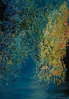 Zvia Merdinger - Sunrise Mixed Media on Canvas, Mixed Media