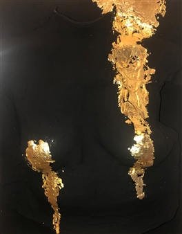 Konka - Armor in Dreams Acrylic, Plaster and 22K Gold Leaves on Canvas, Mixed Media