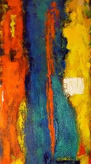 Zivi Aviraz - Tri Color Mixed Media on Canvas, Paintings
