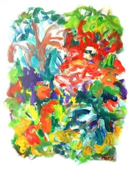 Susan Marx - With Orange Acrylic on Canvas, Paintings