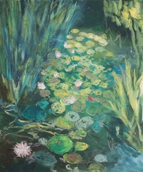 Margaret Adams - White Frosted Pond Oil on Canvas, Paintings