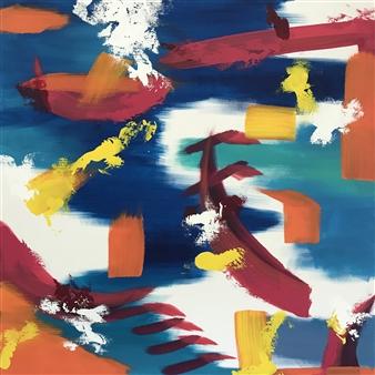 Travis Ballantyne - Boat on Water Acrylic on Canvas, Paintings