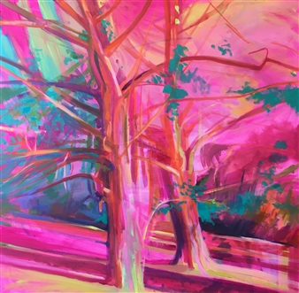 Julia Rowlands - The Yews Oil on Canvas, Paintings