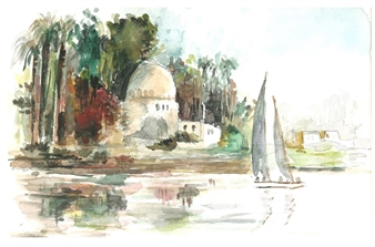 Amani Elbayoumi - Nile Watercolor on Paper, Paintings