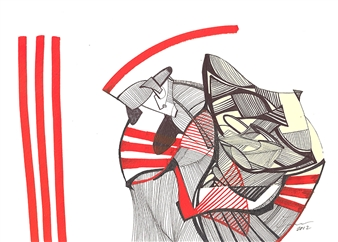 Craig Freeman - Orange Tiger Pen & Ink, Mixed Media