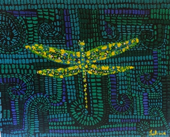 Salome Chelidze - Dragonfly Oil on Canvas, Paintings