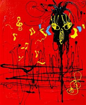 Miho Nishibe - Groovy Acrylic & Oil on Canvas, Paintings