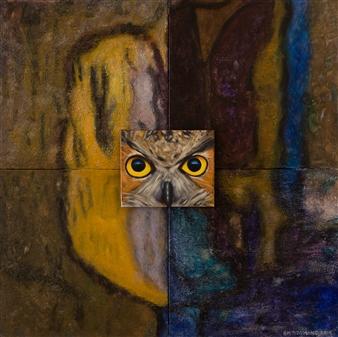 Britt-Marie Tidemand - Owl in Dropp Cave Acrylic & Oil on Canvas, Paintings