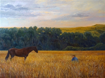 Blanca Severo - The Horse Whisperer Oil on Canvas, Paintings