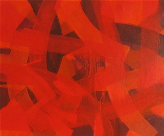 Akihito Izumi - Composition-6 Oil on Canvas, Paintings