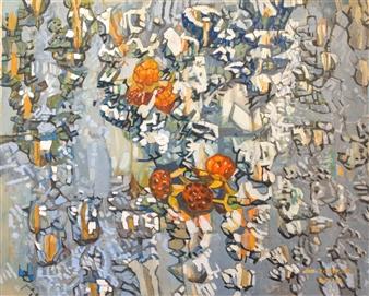 Soilart Jo-DoJoong - Knar Raspberry Soil & Ceramic Paint Mixture on Canvas, Paintings
