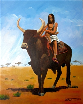 Ashraf Elsharif - Western Sudan Mother Acrylic on Canvas, Paintings
