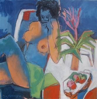 J. Roger Charoux - Nu Aux Fruits Rouges Acrylic & Oil on Canvas, Paintings