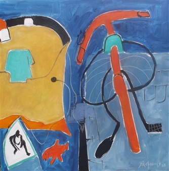 J. Roger Charoux - La Bicyclette Sur Le Quai Acrylic & Oil on Canvas, Paintings