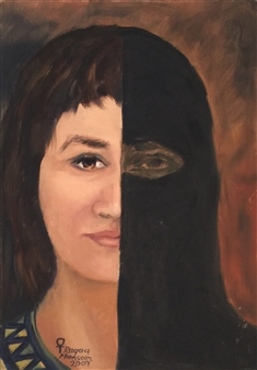 Ragaa Mansour - Oppressed Woman Oil on Canvas, Paintings