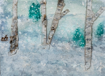 Jodi DeCrenza - A Beautiful Winter's Day Watercolor and Acrylic, Paintings