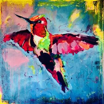 Grażyna Aneta Ochowiak - Hummingbird Acrylic on Canvas, Paintings