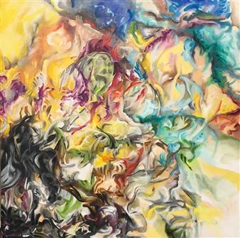 Tringa Khadija - Cogitation à l'espoir Oil on Canvas, Paintings
