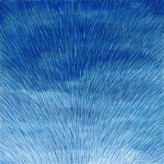 Travis Ballantyne - Blue Explosion Acrylic on Canvas, Paintings