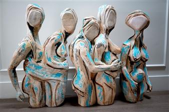 Sahar Khalkhalian - The Truth of The Waiting Room Acrylic &  Mixed Media on Canvas, Sculpture