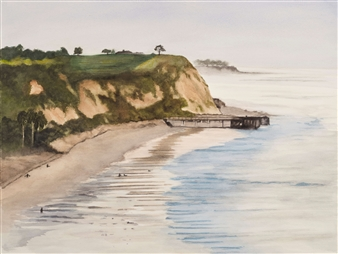 Nancy Holleran - DelMar Low Tide Watercolor on Paper, Paintings