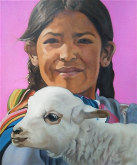 Takumi Kata (TAKU) - A Girl Holding a Baby Alpaca Acrylic on Canvas, Paintings