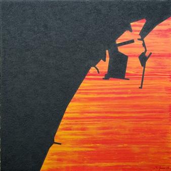 Marcos Joven - Málaga VI Acrylic & Sand on Canvas, Mixed Media