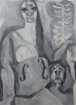 Khac Cuong Le - A Woman with a Dog 2 Oil and Gouache on Canvas, Paintings