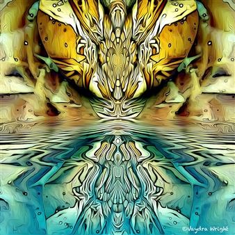 Vaydra Wright - Between Two Worlds Digital Art on Paper Mounted on Aluminum Board, Digital Art
